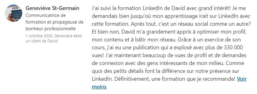 Témoignage Geneviève St-Germain - Formation David Gaudreault Stratège et formateur en positionnement sur LinkedIn