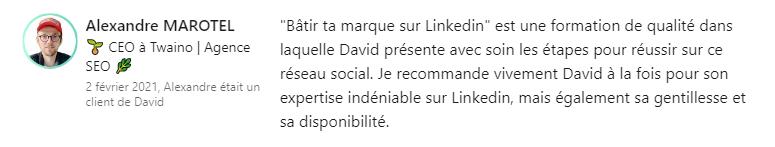Témoignage Alexandre Marotel - David Gaudreault
