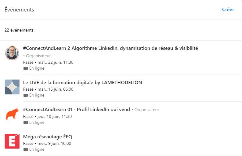 Liste d'événement LinkedIn